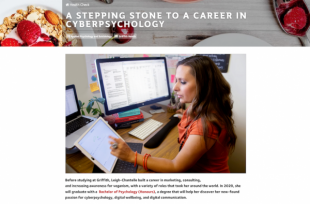 A stepping stone to a career in cyberpsychology Profile on Leigh Chantelle by Griffith Health